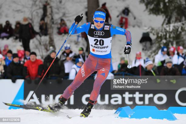 Yulia Belorukova of Russia competes in the Women's 14KM Cross Country Sprint qualification round during the FIS Nordic World Ski Championships on...