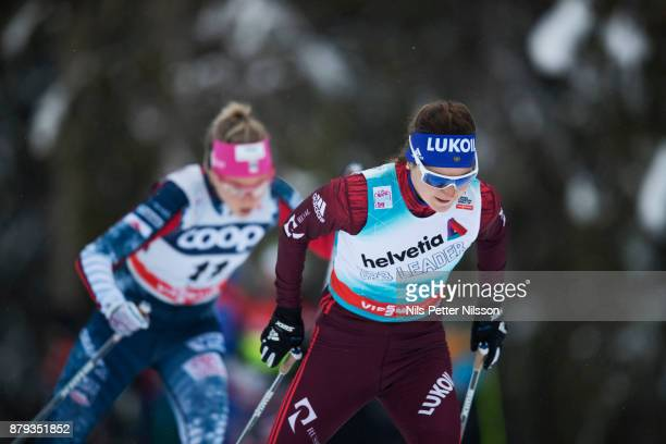 Yulia Belorukova of Russia during the ladies cross country 10K pursuit competition at FIS World Cup Ruka Nordic season opening at Ruka Stadium on...