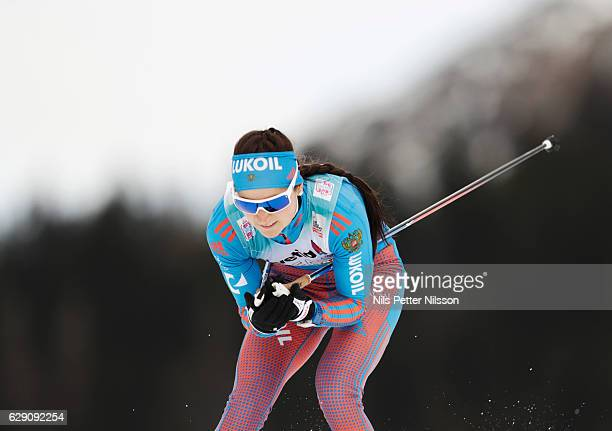 Yulia Belorukova of Russia during the Viessmann FIS Cross Country World Cup sprint qualification free technique on December 11 2016 in Davos...