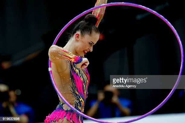 Yulia Bravikova of Russia performs during the 2018 Moscow Rhythmic Gymnastics Grand Prix GAZPROM Cup in Moscow on February 17, 2018.