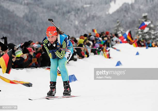 Yulia Dzhima of the Ukraine in action during the Women's 4x 6km relay on Day 5 of the IBU Biathlon WOrld Cup Ruhpolding on January 17 2016 in...