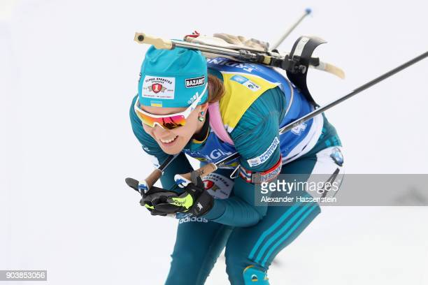 Yulia Dzhima of Ukraine competes at the women's 15km individual competition during the IBU Biathlon World Cup at Chiemgau Arena on January 11 2018 in...