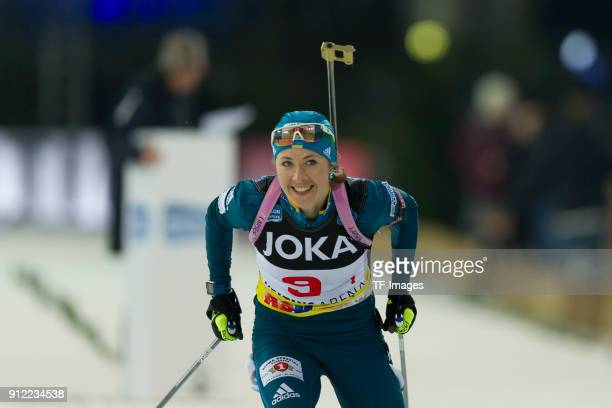 Yulia Dzhima of Ukraine skates during the JOKA Biathlon World Team Challenge at VeltinsArena on December 28 2017 in Gelsenkirchen Germany
