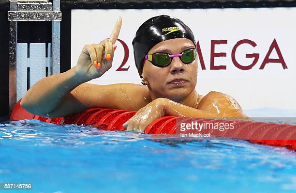 Yulia Efimova of Russia celebrates after she wins her semi final of the Women's 100m Breaststroke final during Day 2 of the Rio 2016 Olympic Games at...