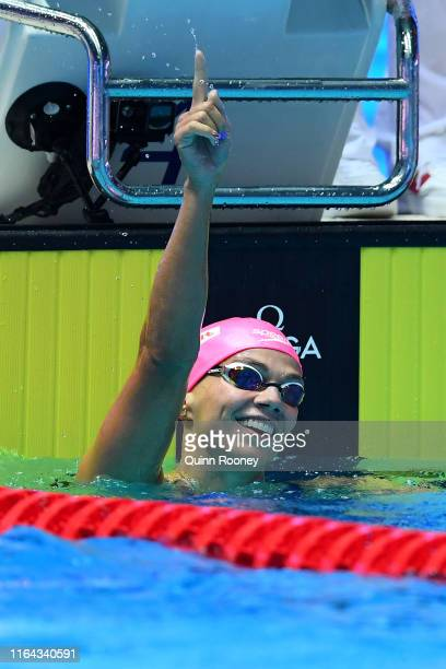 Yulia Efimova of Russia celebrates after winning the Women's 200m Breaststroke Final on day six of the Gwangju 2019 FINA World Championships at Nambu...