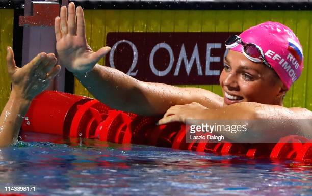 Yulia Efimova of Russia celebrates in the Women's 200m Individual Medley during day two of the FINA Champions Swim Series at Duna Arena on May 12...