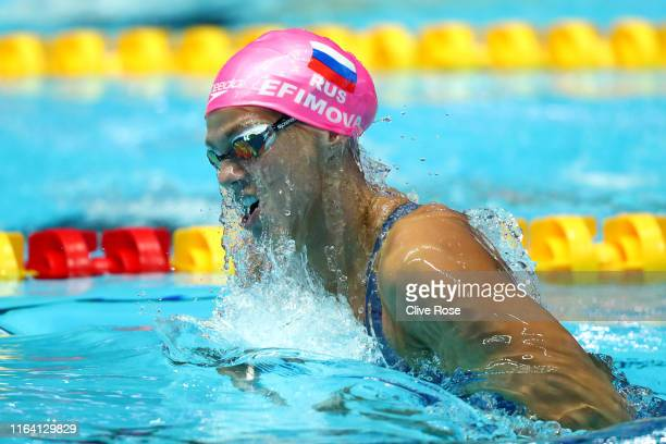 Yulia Efimova of Russia competes in the Women's 200m Breaststroke Semifinal on day five of the Gwangju 2019 FINA World Championships at Nambu...