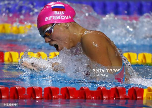 Yulia Efimova of Russia competes in the Women's 200m Individual Medley during day two of the FINA Champions Swim Series at Duna Arena on May 12 2019...