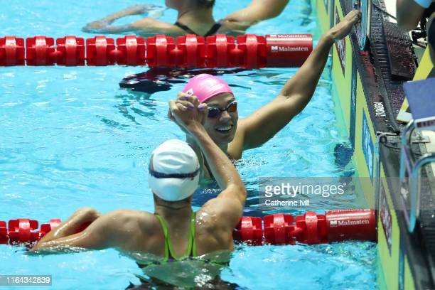 Yulia Efimova of Russia is congratulated Tatjana Schoenmaker of South Africa after winning the Women's 200m Breaststroke Final on day six of the...