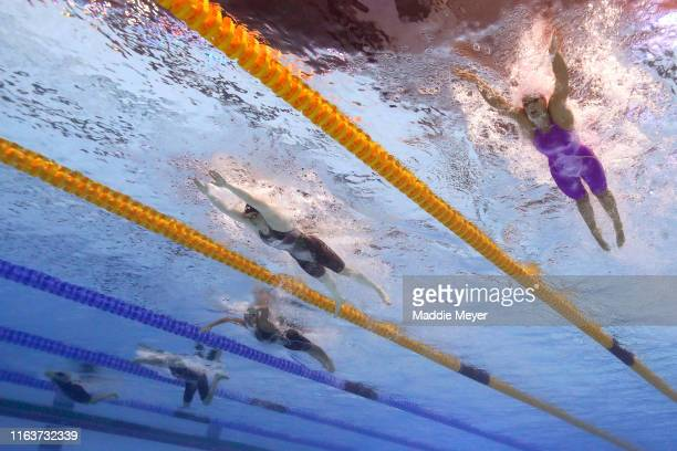 Yulia Efimova of Russia Lilly King of the United States and Martina Carraro of Italy compete in the Women's 100m Breaststroke Final on day three of...