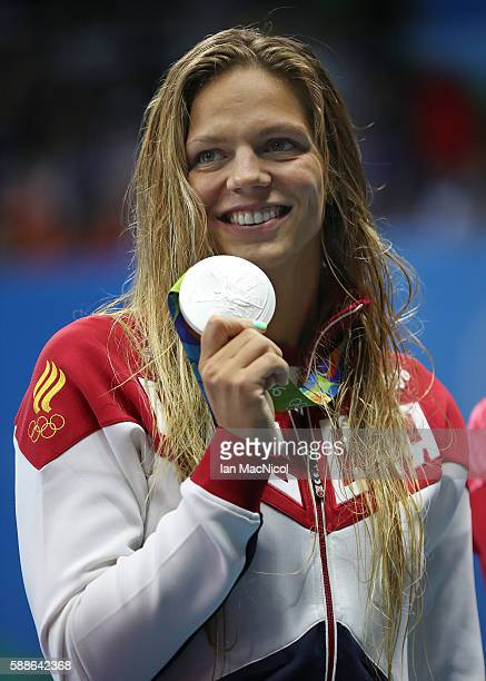 Yulia Efimova of Russia poses with her silver medal from the Woman's 200m Breaststroke final on Day 6 of the Rio 2016 Olympic Games at the Olympic...