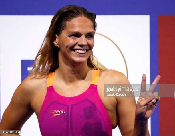 Yulia Efimova of Russia reacts during the Women's 200m Breaststroke during day one of the FINA Champions Swim Series at Duna Arena on May 11 2019 in...