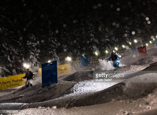Yulia Galysheva of Kazakhstan races Aurora Amundsen of Norway during the eight final of the Ladies' Dual Moguls Final of the FIS Freestyle Ski World...