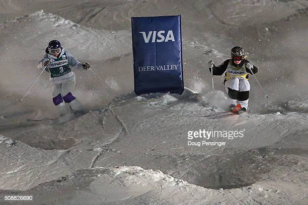 Yulia Galysheva of Kazakhstan skis to second place against Justine DufourLapointe in first place in the final of the ladies' FIS Freestyle Skiing...