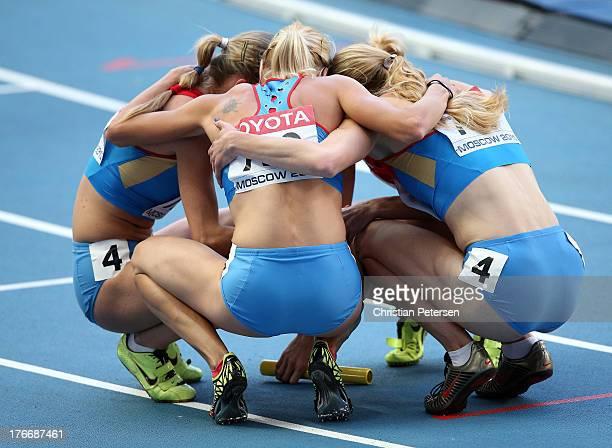 Yulia Gushchina, Tatyana Firova, Kseniya Ryzhova and Antonina Krivoshapka of Russia celebrate winning gold in the Women's 4x400 metres relay final...