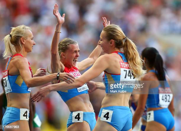 Yulia Gushchina Tatyana Firova Kseniya Ryzhova and Antonina Krivoshapka of Russia celebrate winning gold in the Women's 4x400 metres relay final...