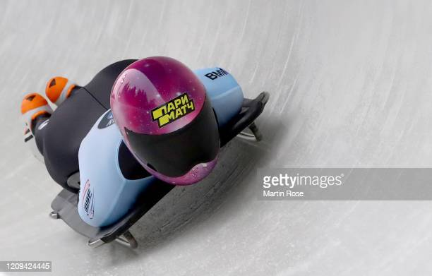 Yulia Kanakina of Russia in action during the third heat for the Women's Skeleton on day nine of the BMW IBSF World Championships Altenberg 2020 on...