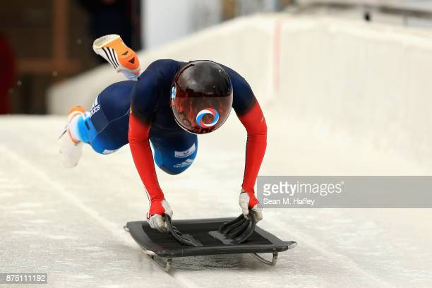 Yulia Kanakina of Russia takes a training run in the Women's Skeleton during the BMW IBSF Bobsleigh + Skeleton World Cup at Utah Olympic Park...