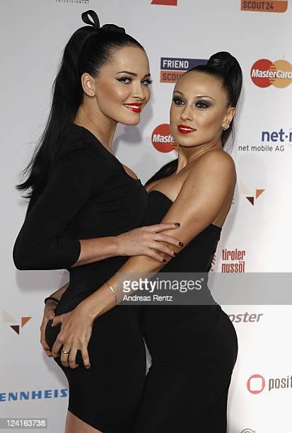 Yulia Kavtaradze and Dasha Astafieva of the Ukraine band Nikita attend the Music meets Media party at Grand Hotel Esplanade on September 8 2011 in...