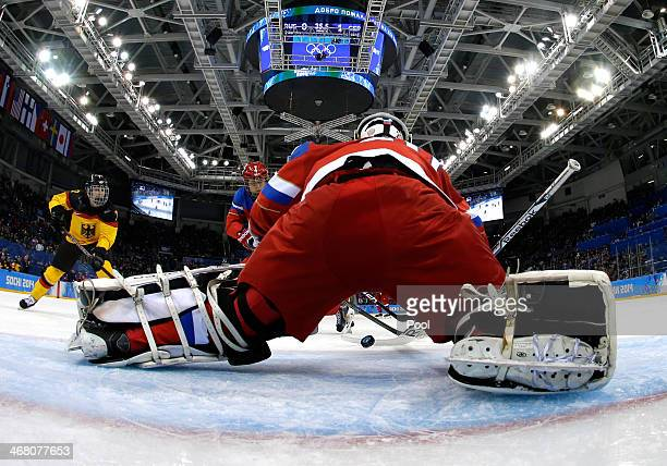 Yulia Leskina of Russia makes a save in the second period against Germany during the Women's Ice Hockey Preliminary Round Group B Game on day two of...