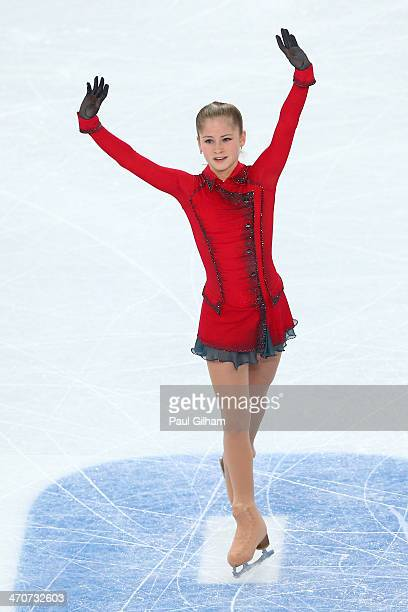 Yulia Lipnitskaya of Russia reacts after competing in the Figure Skating Ladies' Free Skating on day 13 of the Sochi 2014 Winter Olympics at Iceberg...