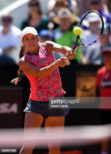 Yulia Putinseva of Kazakhstan plays shot during her first round match against Johanna Konta of Great Britain in The Internazionali BNL d'Italia 2017...