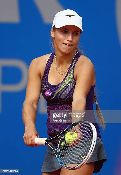 Yulia Putintseva of Kasakhstan concentrates during her match against Julia Goerges of Germany during day five of the Nuernberger Versicherungscup...