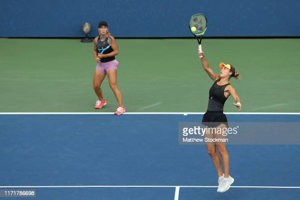 Yulia Putintseva of Kazakhstan and Anna Kalinskaya of Russia in action during their Women's Doubles third round match against Timea Babos of Hungary...