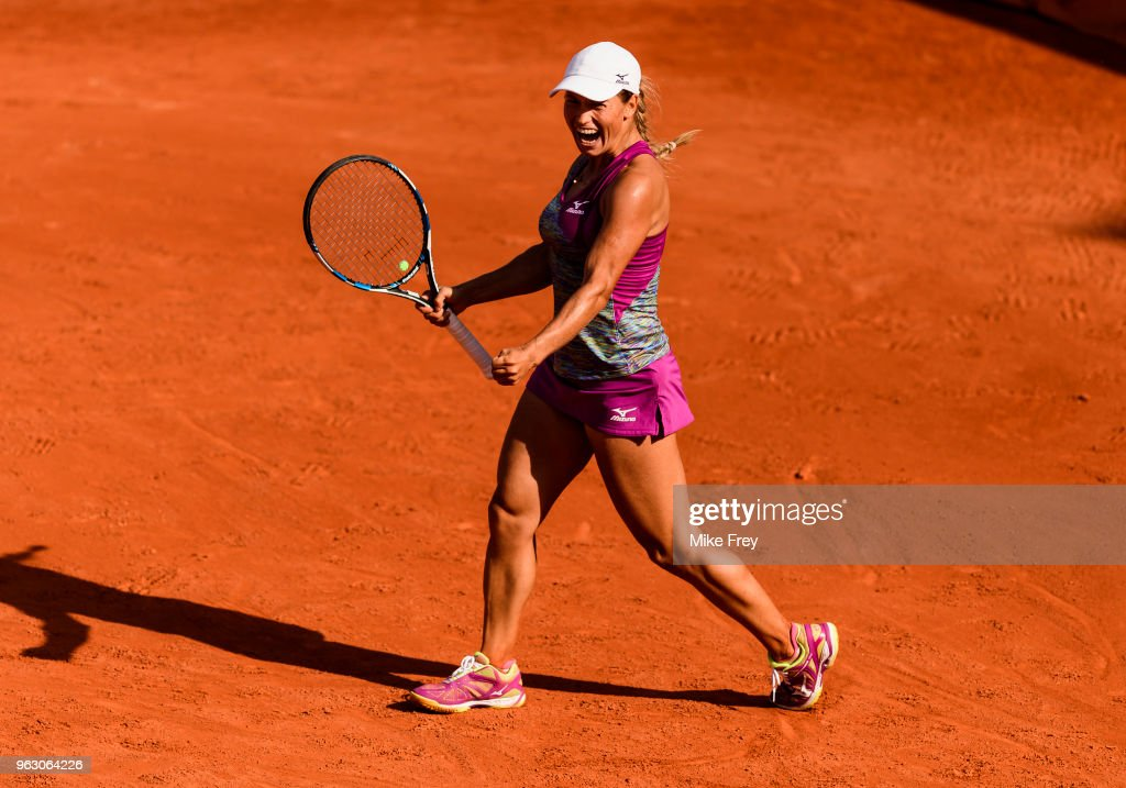 Yulia Putintseva of Kazakhstan celebrates after beating Johanna Konta of Great Britainn 6-4 6-3 in the first round of the French Open at Roland Garros on May 27, 2018 in Paris, France.