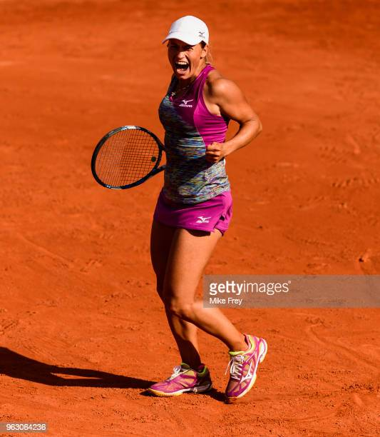 Yulia Putintseva of Kazakhstan celebrates after beating Johanna Konta of Great Britainn 64 63 in the first round of the French Open at Roland Garros...