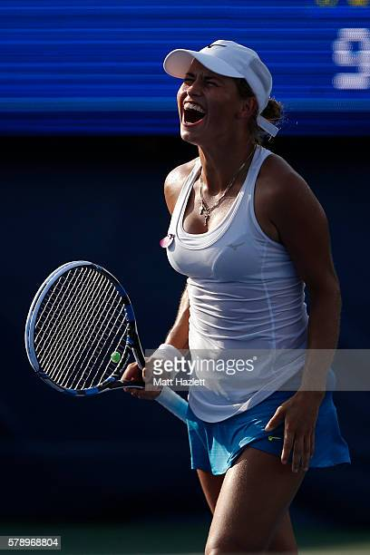 Yulia Putintseva of Kazakhstan celebrates after defeating Risa Ozaki of Japan 64 62 during day 5 of the Citi Open at Rock Creek Tennis Center on July...