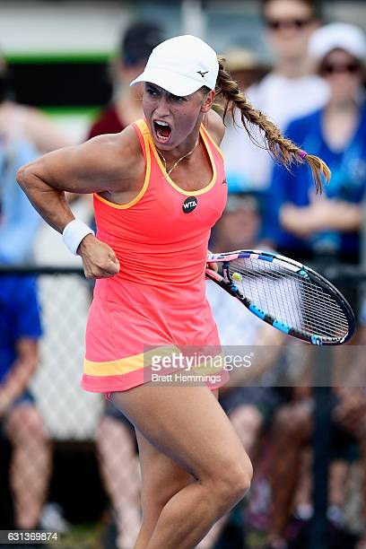 Yulia Putintseva of Kazakhstan celebrates after winning a point in her second round match against Caroline Wozniacki of Denmark during day three of...