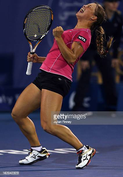 Yulia Putintseva of Kazakhstan celebrates at match point as she defeats Laura Robson of Great Britain during day one of the WTA Dubai Duty Free...