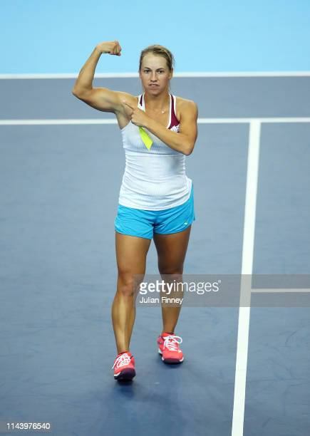 Yulia Putintseva of Kazakhstan celebrates defeating Katie Boulter of Great Britain during the Fed Cup World Group II PlayOff match between Great...
