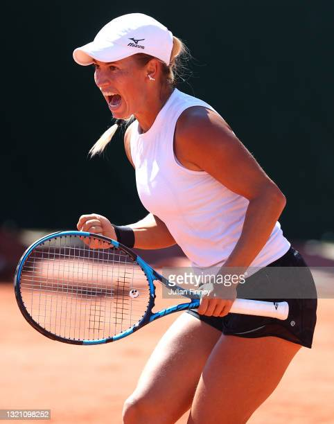 Yulia Putintseva of Kazakhstan celebrates in their ladies first round match against Ons Jabeur of Tunisia during day three of the 2021 French Open at...