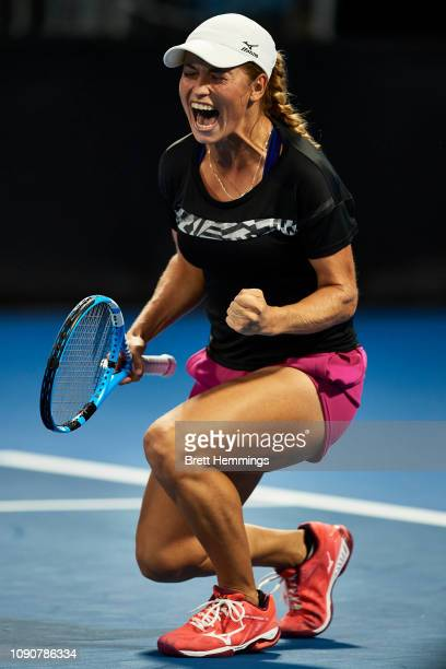 Yulia Putintseva of Kazakhstan celebrates victory in her match against Daria Gavrilova of Australia during day two of the 2019 Sydney International...