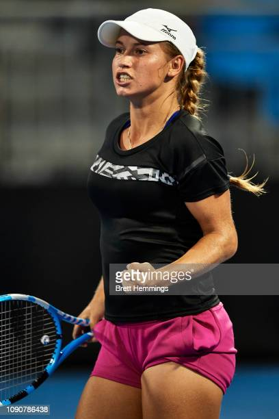 Yulia Putintseva of Kazakhstan celebrates victory in her match against Daria Gavrilova of Australia during day two of the 2019 Sydney International...