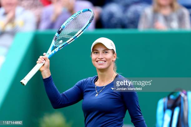 Yulia Putintseva of Kazakhstan celebrates victory in her second round match against Naomi Osaka of Japan during day four of the Nature Valley Classic...