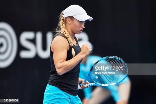 Yulia Putintseva of Kazakhstan celebrates winning a point against Destanee Aiava of Australia during day one of the 2019 Sydney International at...