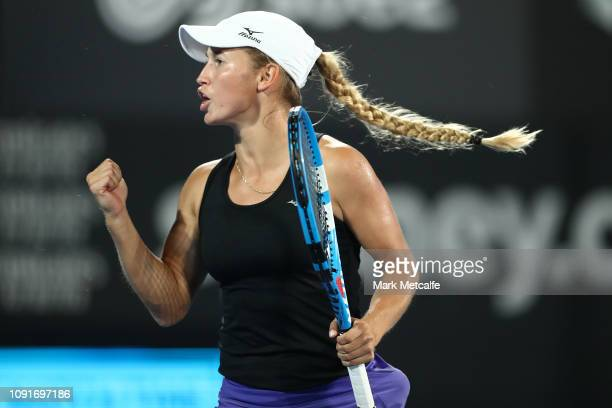 Yulia Putintseva of Kazakhstan celebrates winning a point in her match against Sloane Stephens of the United States during day four of the 2019...