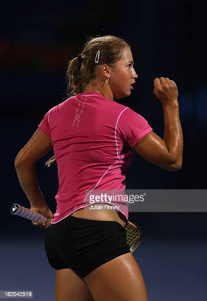 Yulia Putintseva of Kazakhstan celebrates winning a point in her match against Laura Robson of Great Britain during day one of the WTA Dubai Duty...