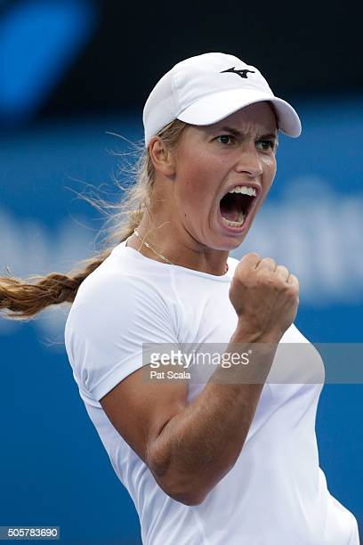 Yulia Putintseva of Kazakhstan celebrates winning a point in her second round match against Xinyun Han of China during day three of the 2016...