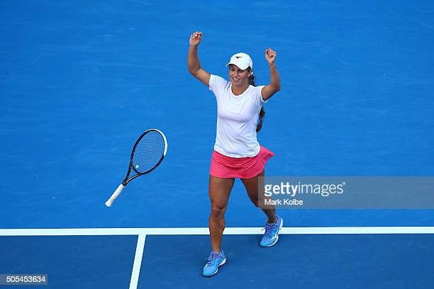 Yulia Putintseva of Kazakhstan celebrates winning her first round match against Caroline Wozniacki of Denmark during day one of the 2016 Australian...