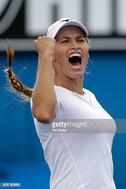 Yulia Putintseva of Kazakhstan celebrates winning her second round match against Xinyun Han of China during day three of the 2016 Australian Open at...