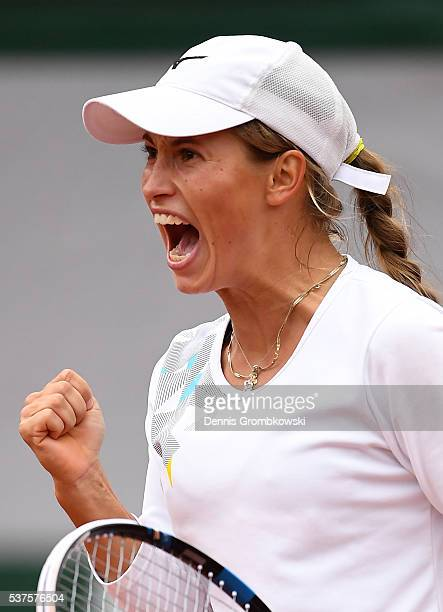 Yulia Putintseva of Kazakhstan celebrates winning the first set during the Ladies Singles quarter final match against Serena Williams of the United...