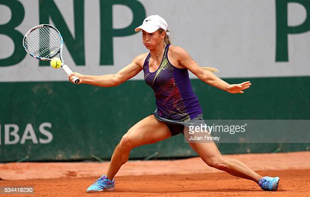 Yulia Putintseva of Kazakhstan hits a forehand during the Ladies Singles second round match against Andrea Petkovic of Germany on day five of the...