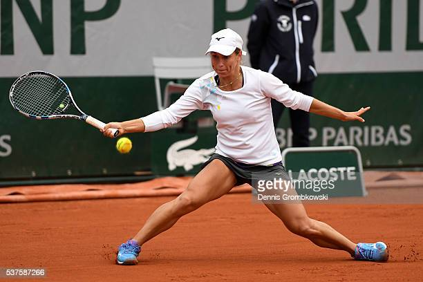 Yulia Putintseva of Kazakhstan hits a forehand during the Ladies Singles quarter final match against Serena Williams of the United States on day...