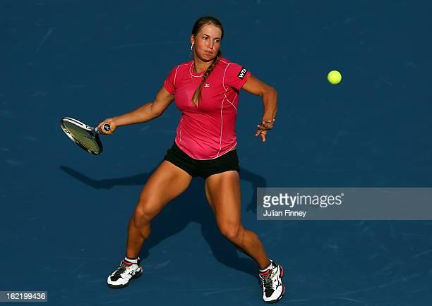 Yulia Putintseva of Kazakhstan in action against Agnieszka Radwanska of Poland during day three of the WTA Dubai Duty Free Tennis Championship on...