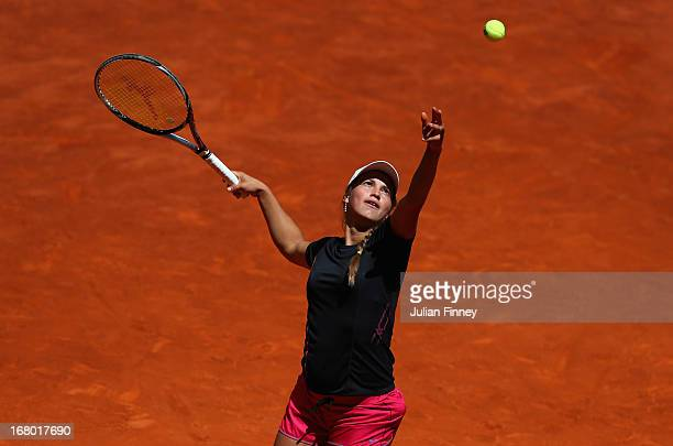 Yulia Putintseva of Kazakhstan in action in her match against Aravane Rezai of France during the Mutua Madrid Open tennis tournament at the Caja...