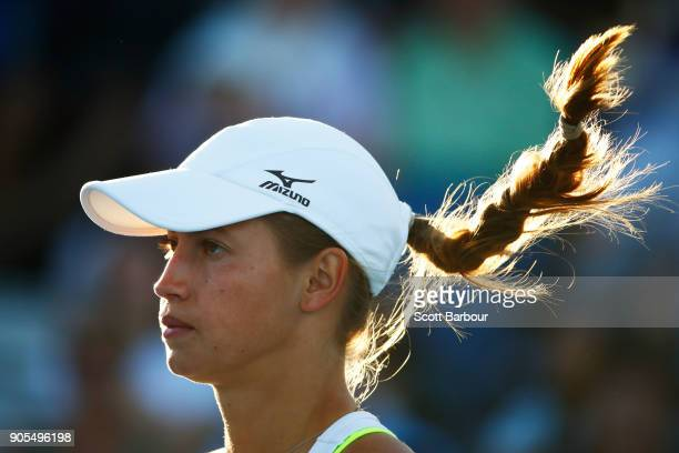 Yulia Putintseva of Kazakhstan looks on in her first round match against Heather Watson of Great Britain on day two of the 2018 Australian Open at...